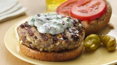 Greek Turkey Burgers with Tzatziki Sauce