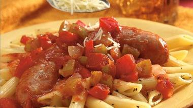 Hearty Tomato Sausage Penne Bake