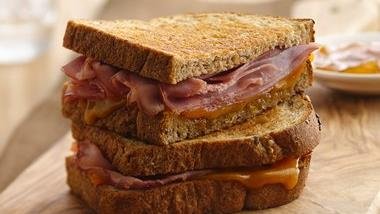 Grilled Ham, Cheddar and Chutney Sandwich