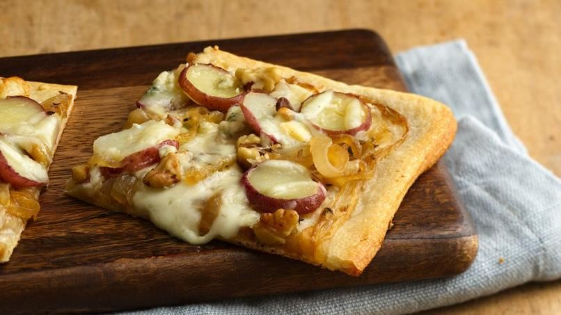 Caramelized Onion, Potato and Walnut Pizza
