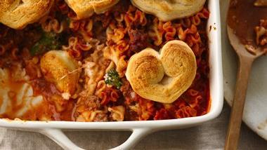 Crescent Heart-Topped Lasagna Casserole