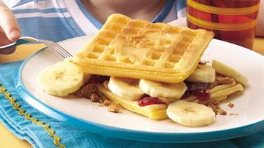 Peanut Butter and Banana Waffle-wiches