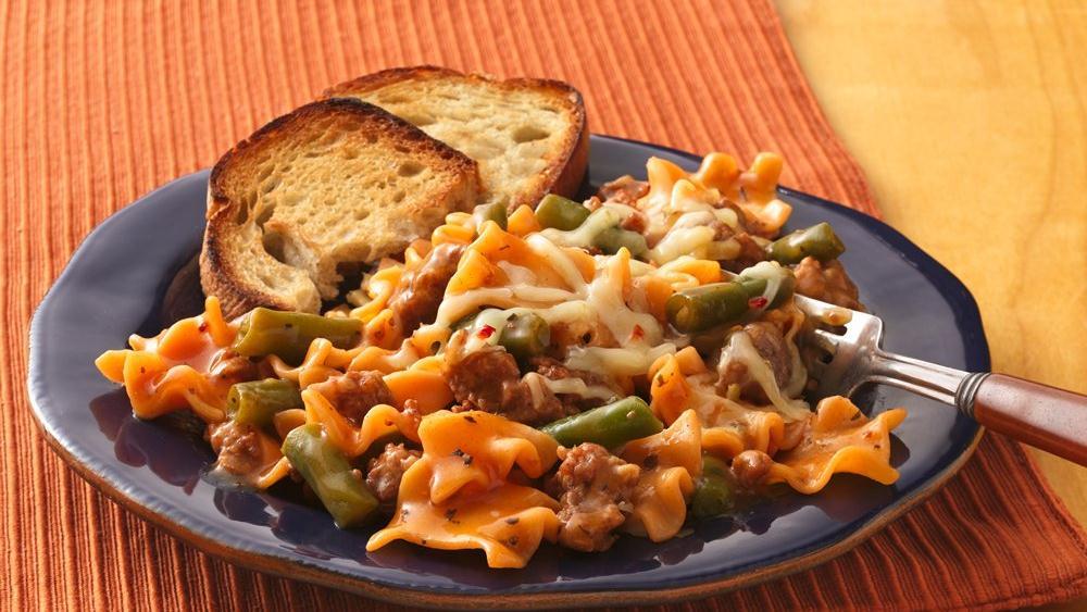 Spicy Sausage Lasagna Skillet