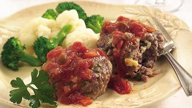 Blue Cheese Meatloaves with Buffalo Sauce