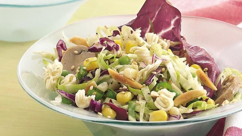 Cabbage Salad Vinaigrette with Crunchy Noodles