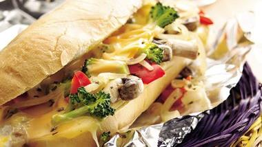 Hot Veggie and Cheese Hoagies