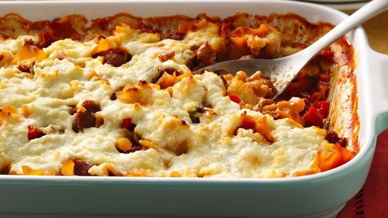 Three Cheese-Sausage Lasagna