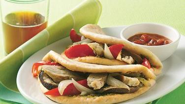 Chicken and Roasted Vegetable Foldover Sandwiches
