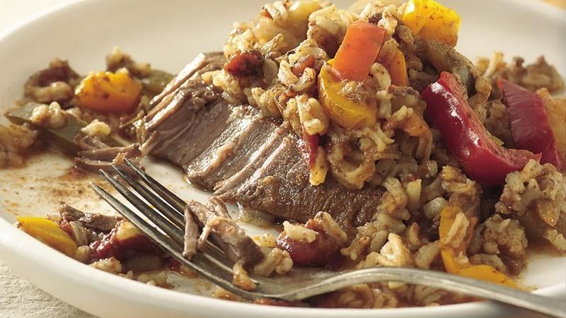 Slow-Cooker Tex-Mex Steak and Rice recipe from Betty Crocker