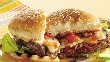 Grilled Stuffed Pizza Burgers