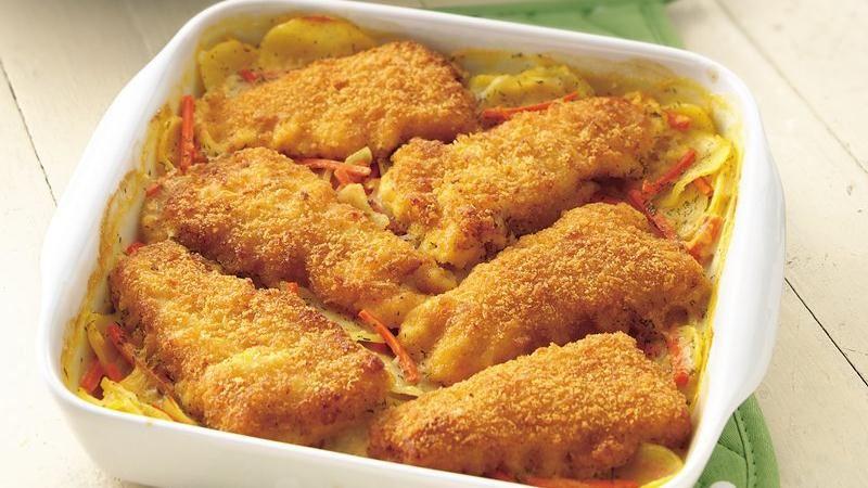 Crispy Fish-Topped au Gratin Potatoes