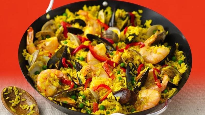 Seafood Paella recipe from Betty Crocker