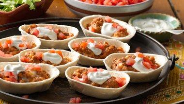 Mini Cheesy Refried Beans Boats
