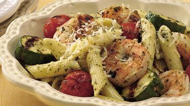 Grilled Pesto Shrimp with Pasta