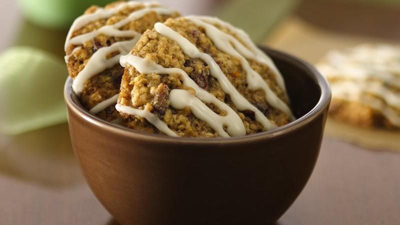 Chewy Cranberry-Oatmeal Cookies with Orange Icing
