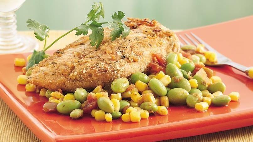 Breaded Chicken with Edamame Succotash
