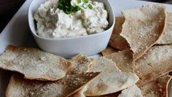 Homemade Lavash Crackers with Shallot Cream Cheese Dip