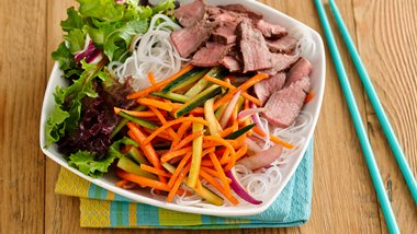 Healthy Sriracha-Lime Rice-Noodle Salad Bowl with Beef
