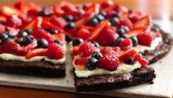 Gluten-Free Brownie and Berries Dessert Pizza
