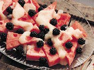 Watermelon with Blackberries and Pear Puree