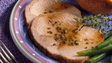Pork Roast with Sherry-Plum Sauce
