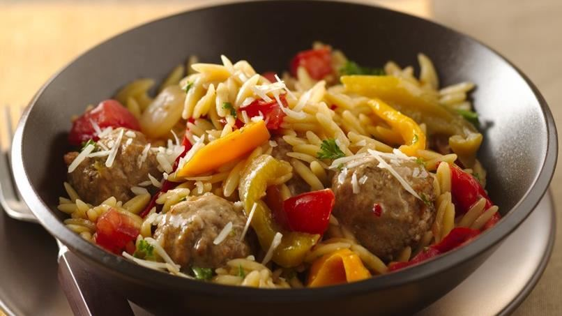 Parmesan Orzo and Meatballs