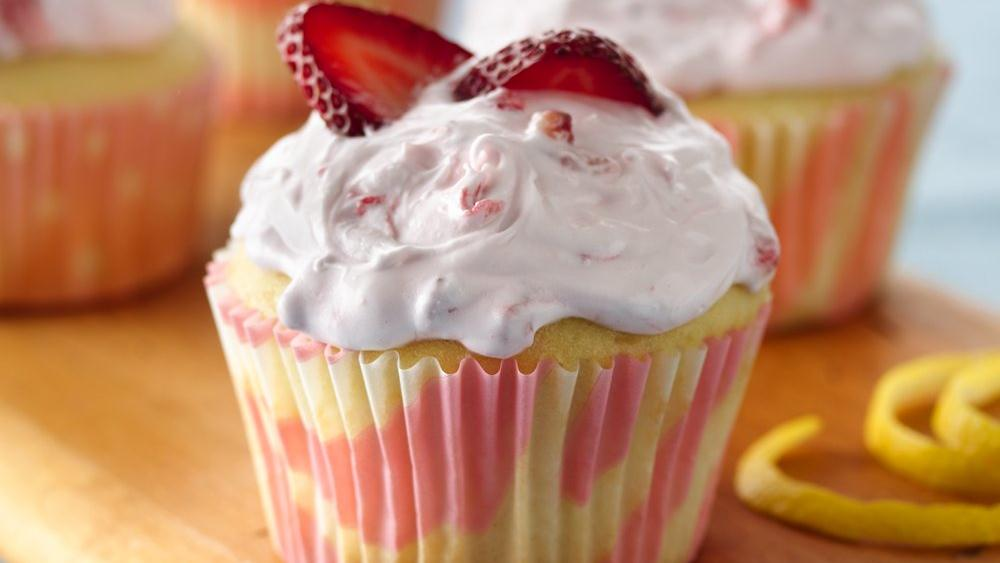 Lemon Cupcakes with Strawberry Frosting