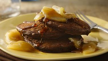 Chocolate Pancakes with Maple-Pear Sauce