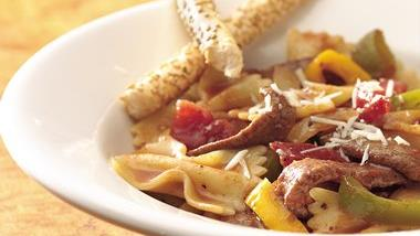 Bow-Tie Pasta with Beef and Tomatoes