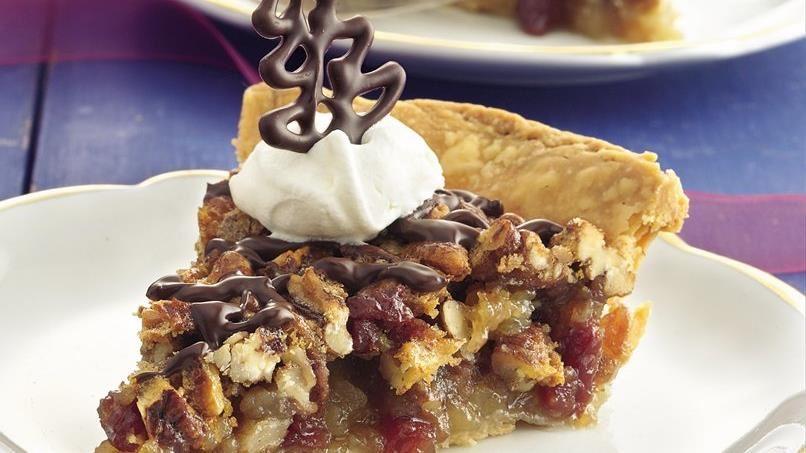 Chocolate-Glazed Cherry-Pecan Pie