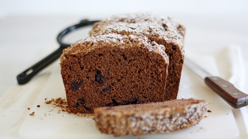 Dark Chocolate Roasted Cherry Quick Bread