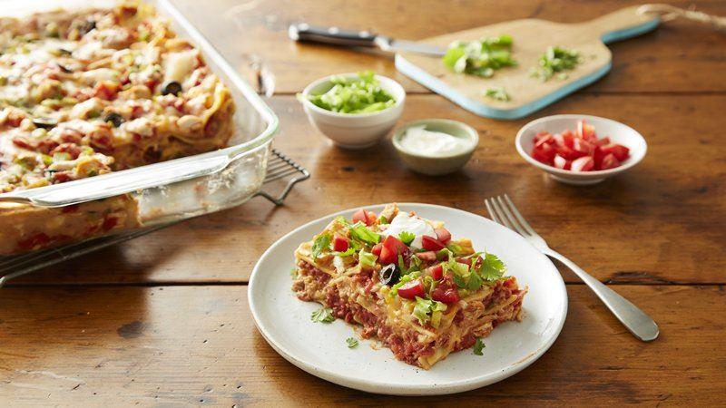 Taco Fiesta Chicken Lasagna recipe from Betty Crocker