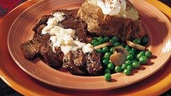 Grilled Peppered Steak with Brandy Cream Sauce