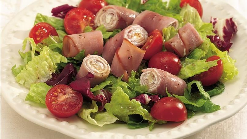 Ham and Garlic Cheese Roll Salad