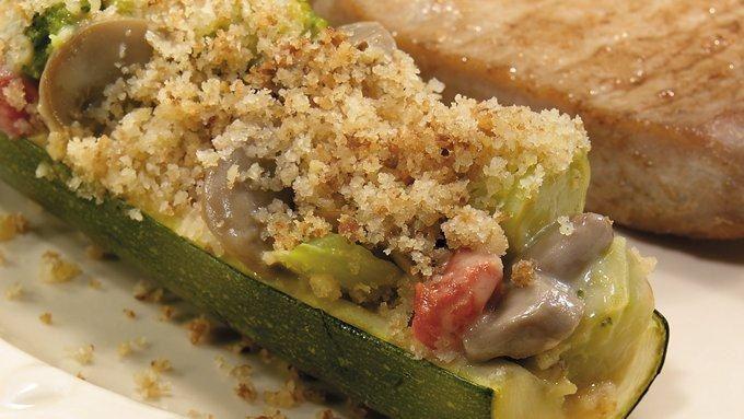 Cheesy Broccoli Stuffed Zucchini