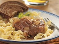 Slow-Cooker Bavarian-Style Round Steak with Red Onions and Noodles