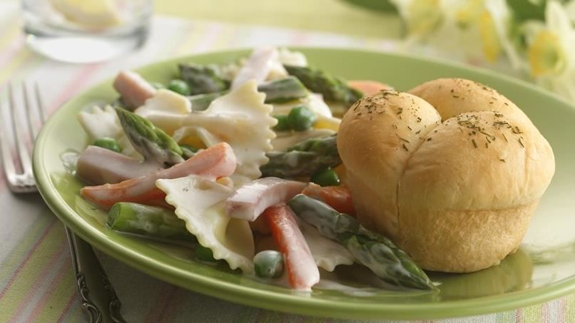 Creamy Bow-Tie Pasta with Spring Vegetables and Ham
