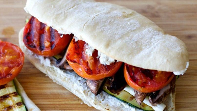 Grilled Vegetable and Goat Cheese Sandwich