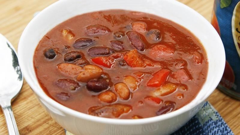Meatless Slow-Cooker Three Bean Chili
