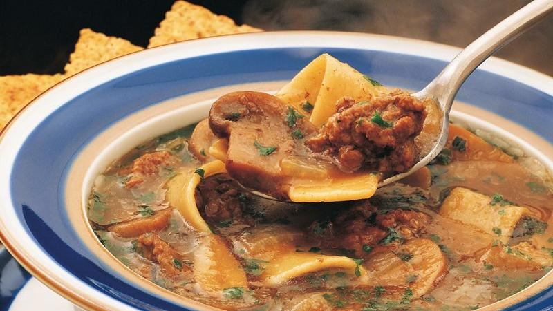 Beef Pasta and Mushroom Soup