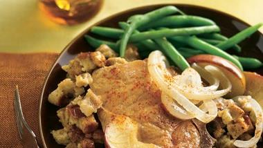 Pork Chops and Apples with Stuffing