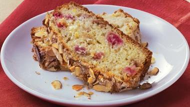 Orange-Rhubarb Bread with Almond Topping