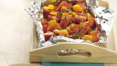 Grilled Sweet Potato and Pepper Foil Pack