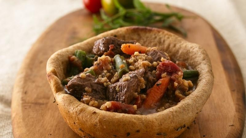 Beef and Millet Stew in Bread Bowls