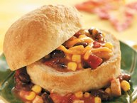 Chicken Taco Stew in Bread Bowls