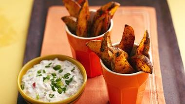 Chili Potato Dippers with Cheddar Jalapeño Dip