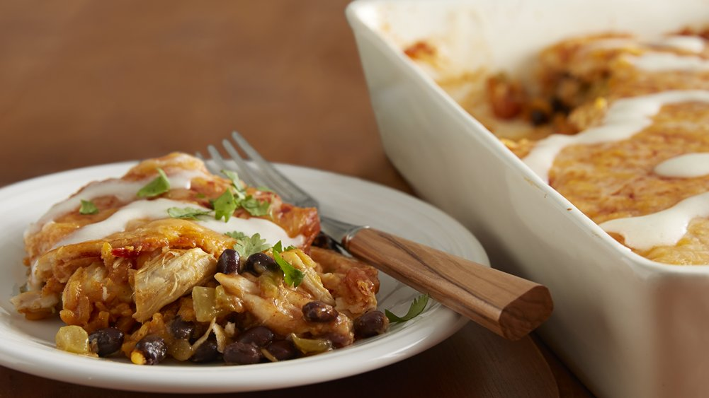 Chicken and Black Bean Enchilada Casserole recipe from Pillsbury.com