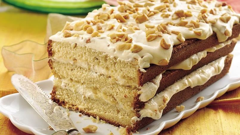 Browned Butter Pound Cake with Caramel-Cashew Filling