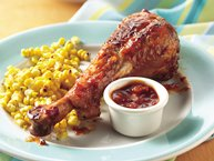 Grilled Spicy Chipotle Barbecue Turkey Drumsticks