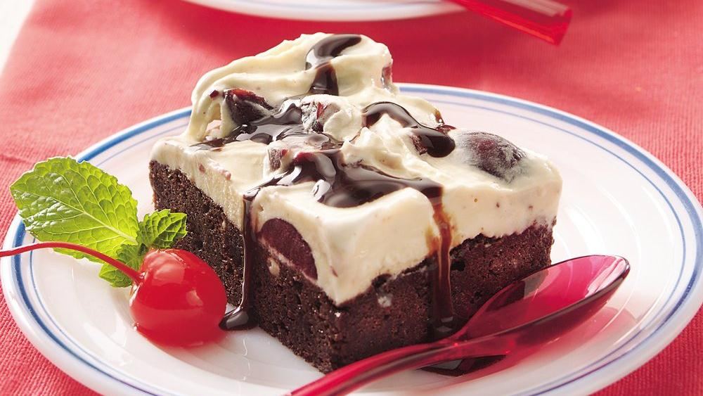 Brownie-Cherry-Ice Cream Dessert